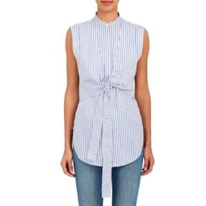 Helmut Lang Striped Sleeveless Button Down Small